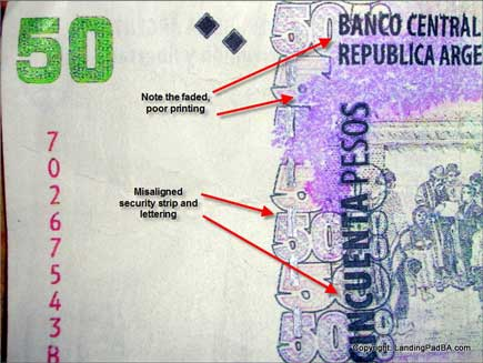 Faked Argentine Currency Notes