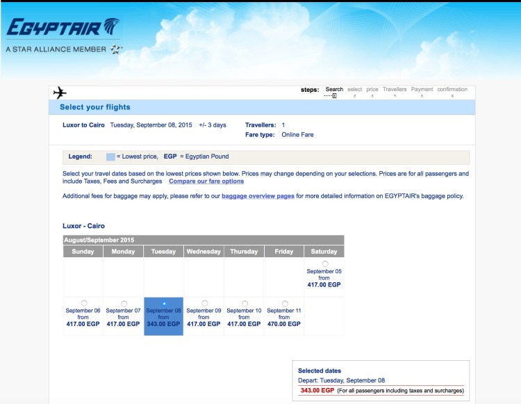 For Egyptair's Egypt homepage, for the price the same Luxor to Cairo route are quoted in the local currency of Egyptian Pound