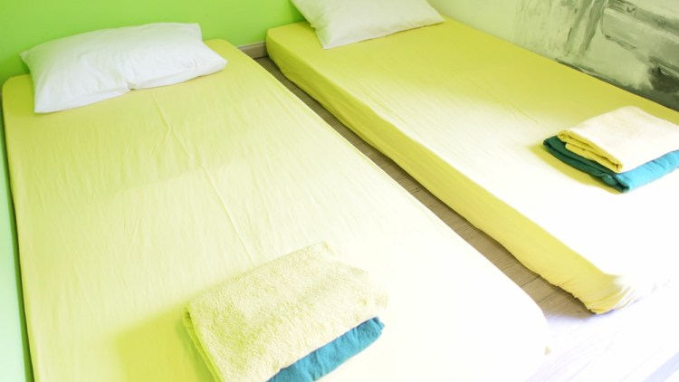 Double Room Pod - linens and towels included. Fully air conditioned in all rooms