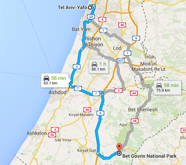 Driving from Tel Aviv to Beit Guvrin National Park