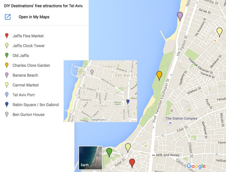 Tel Aviv's Free Attraction Map