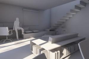 Prema radnom prostoru i stepenicama za gornju etažu