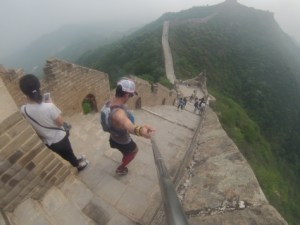 Brandon Yonke Running on the Great Wall of China