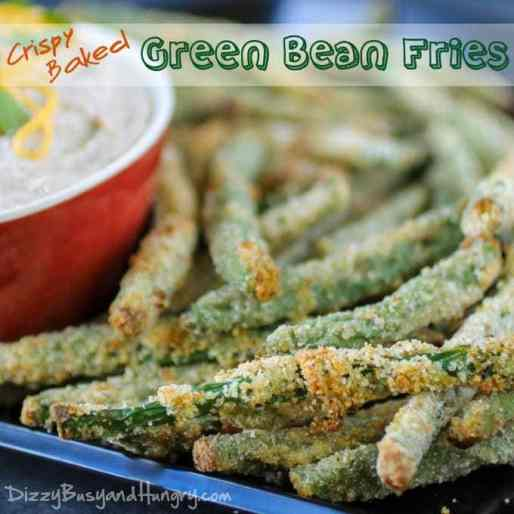 Crispy Baked Green Bean Fries | DizzyBusyandHungry.com - Crunchy, addictive, AND healthy? It's true - you need to try these! #vegetables #appetizer #sidedish