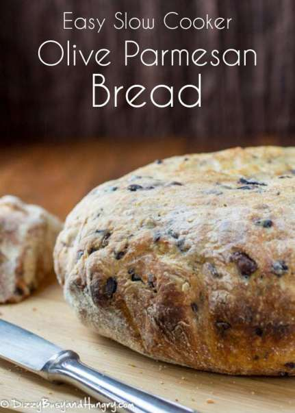Easy Slow Cooker Olive Parmesan Bread | DizzyBusyandHungry.com - No kneading required! You have to try this delicious and super-easy way to prepare fresh-baked bread!