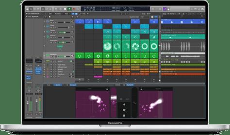 Apple MacBook Pro e schermata di Logic Pro X che mostra Live Loops di Garageband