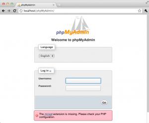 Mac OS X phpMyAdmin Login Screen