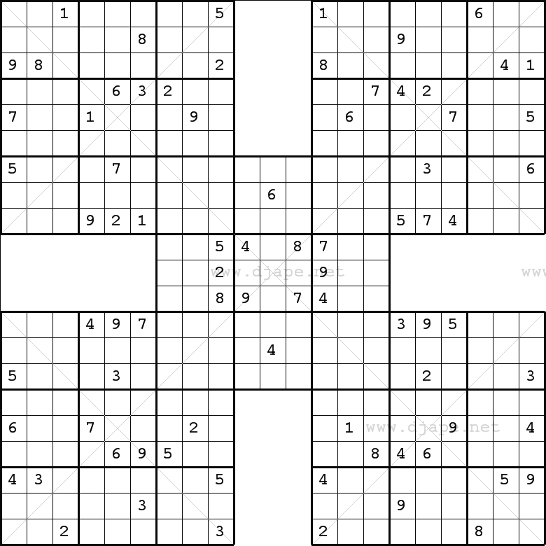 picture about Printable Sudoku Samurai known as Weekly Samurai Sudoku X