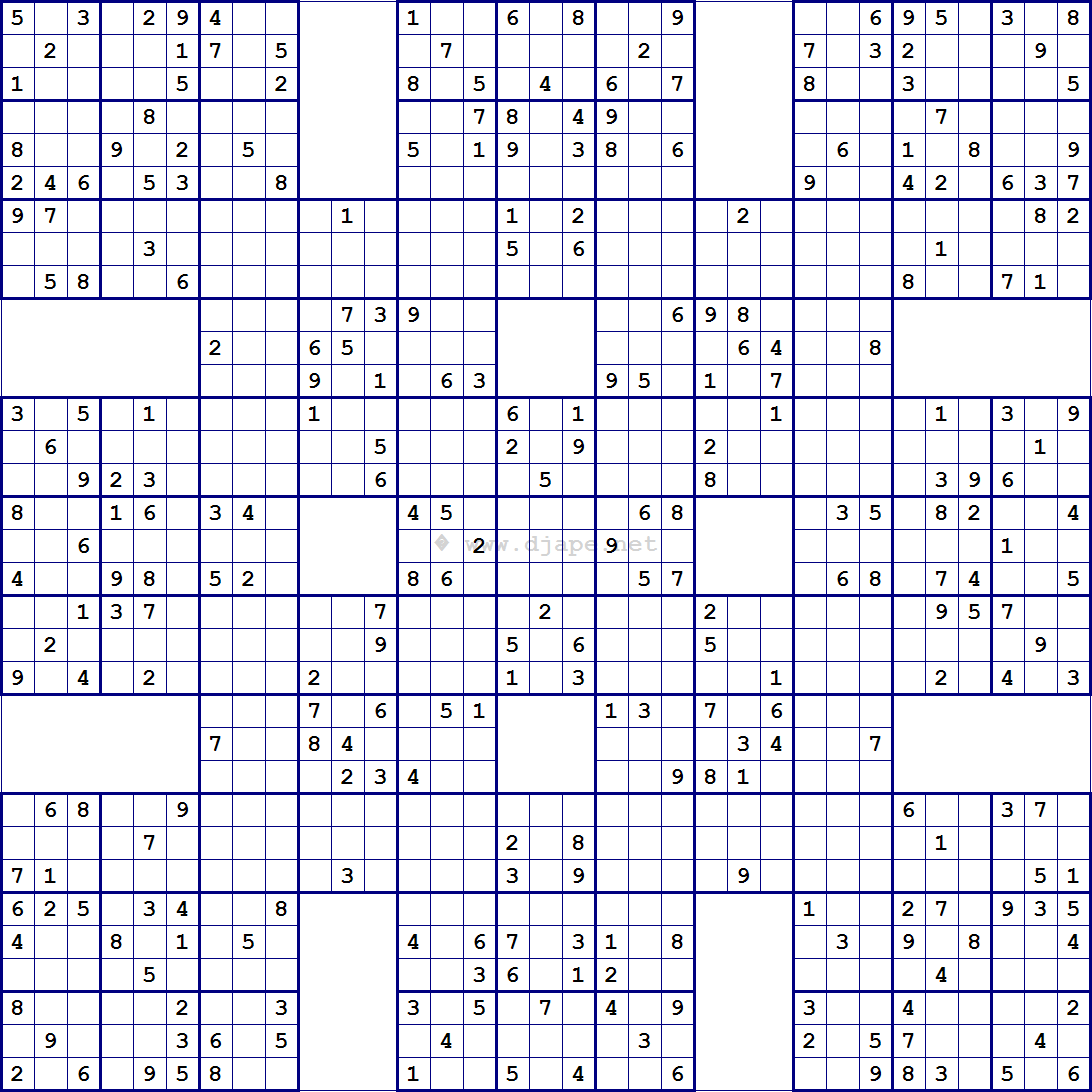 image about Printable Sudoku Samurai referred to as Tremendous Samurai Sudoku 13 grids