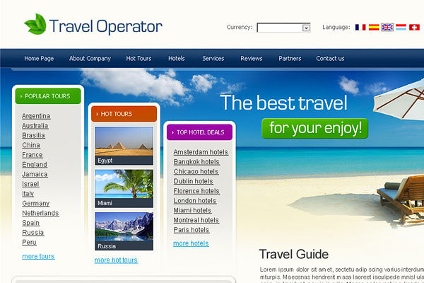 20 Best Free Travel Website Template 3