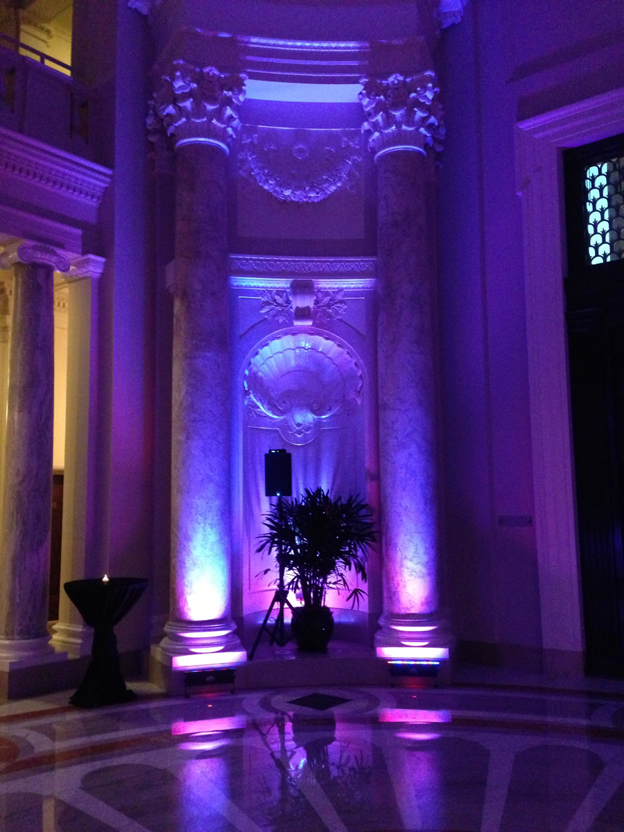 Our lighting design lights up the rotunda at the Carnegie Institute for Science with dramatic color