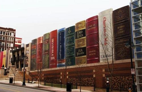 Library book facade