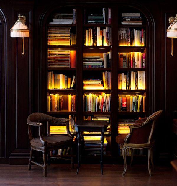 bookshelf nook in hotel