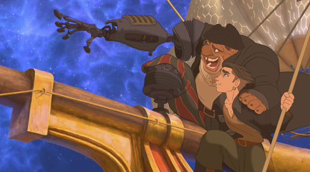 Long John Silver inspires Jim Hawkins in Treasure Planet