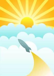 sun rocket illustration