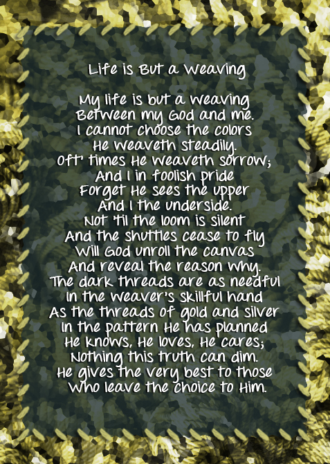 Tapestry poem used by Corrie Ten Boom