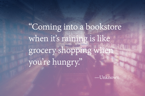 book store rainy day quote