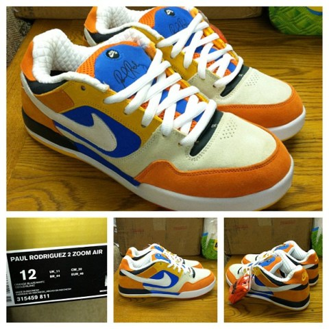via Instagram: #nikesb Paul Rodriguez 2 Zoom Air Cream/Orange/Blue