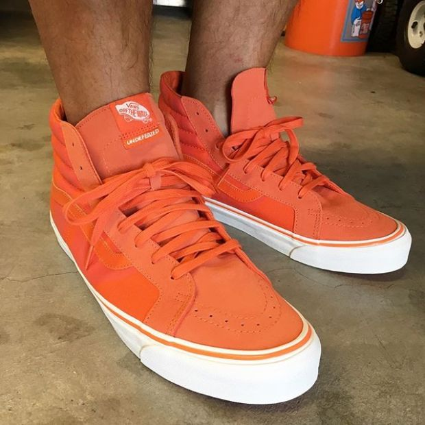 "Day 18/31 of #31daysofvans.  The fourth and final colorway of @undefeatedinc's latest Vans Vault collab.  The ""Safety Orange"" OG Sk8-Hi LX.  #undefeated #undftd #underthepalms #strictlywaffles"