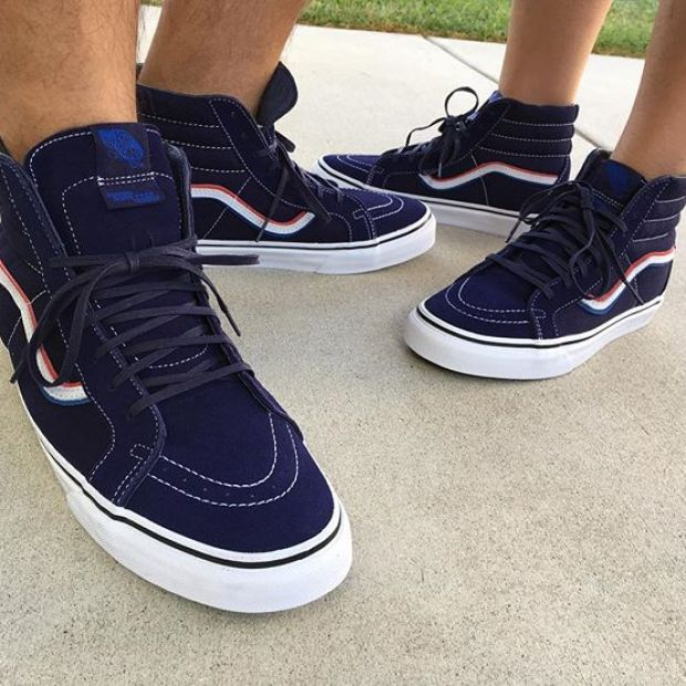 Day 24 of @tintin7117 and I's #31daysofvans.  I chose the Vault x @blends x @bornfreeshow BF9 Sk8-Hi Reissue LX.  We love our #blendsvans and we love hanging out with friends at events like #bornfree9.  #underthepalms #strictlywaffles #blends #vansvault #vans #vaultbyvans