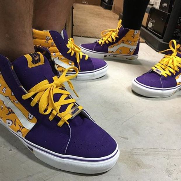 """Day 28 of @tintin7117 and I's #31daysofvans.  UNDFTD Sk8-Hi SL """"Saffron"""". Another one of our favorite shop collabs who we've made some great friends with.  Tons of great memories with @undefeatedinc, specifically the Silverlake family, past and present. 🏽 (plus that Lakers colorway ). #undftd #undftdvans #undefeated #underthepalms #strictlywaffles"""