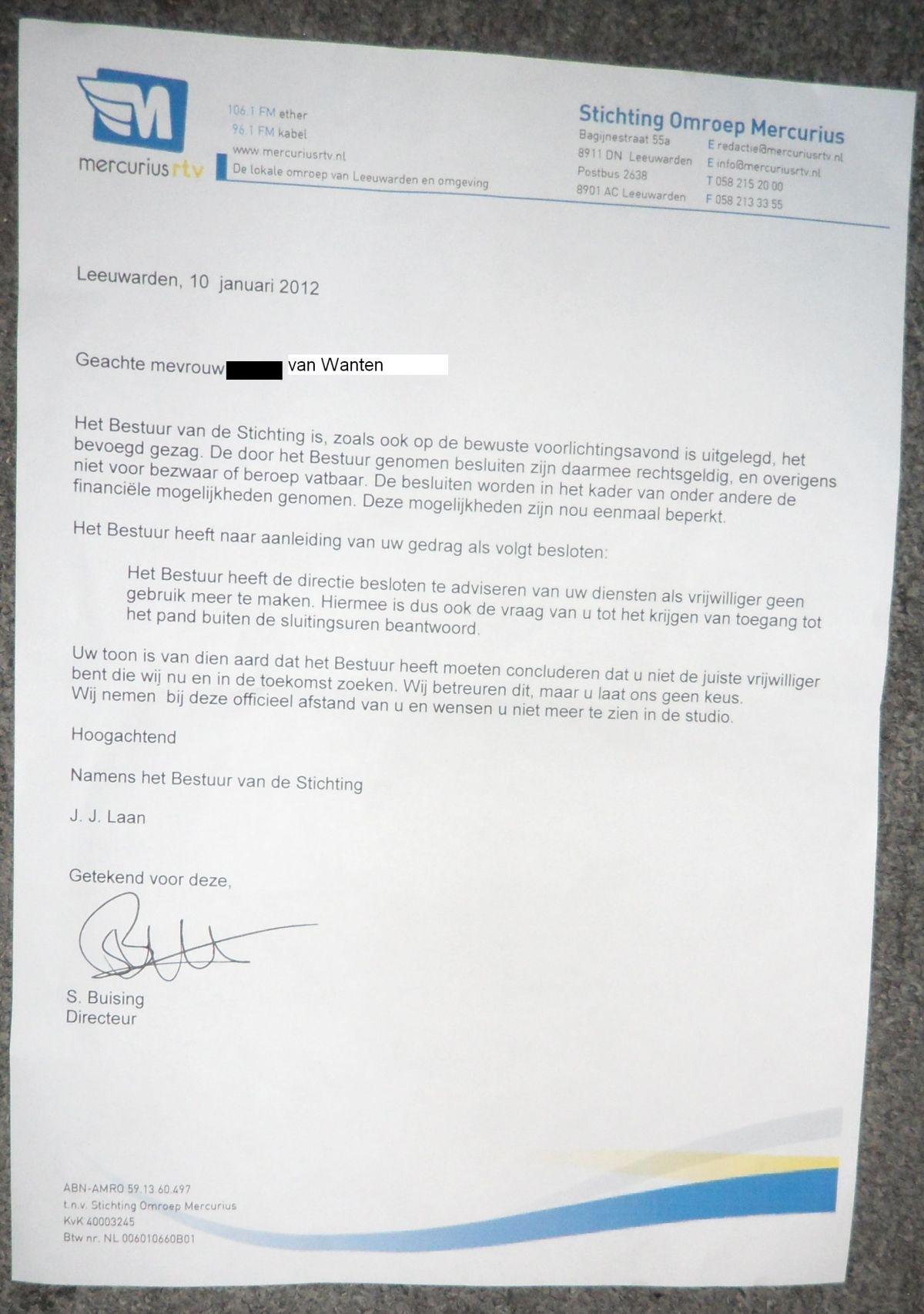 Schorsingsbrief Bregje van Wanten