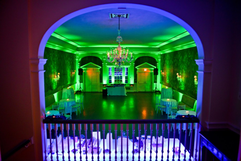 Uplighting DC in Georgetown at City Tavern Club, Uplighting by DJ Maskell with Chauvet Freedom Strip LED