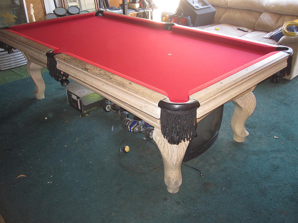 This Has To Be One Of The Filthiest Pool Tables I Have Ever Come Across. We  Were Hired To Give This Santa Ana, CA Garage Pool Table A Little Makeover.