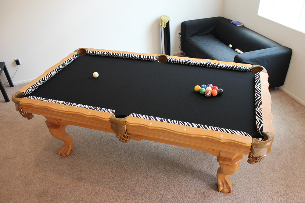 The New Owners Of This Seven Foot Pool Table Decided On Refelting It When  They Visited Our Orange County Pool Table Service Center.