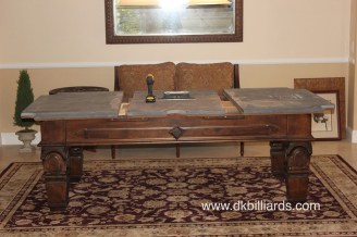 Placing an area rug under a pool table pool table service pool tables can be placed on top of rugs even rugs on top of wall to wall carpet they look nice and frame the space carpet can also dampen the noise of keyboard keysfo Gallery
