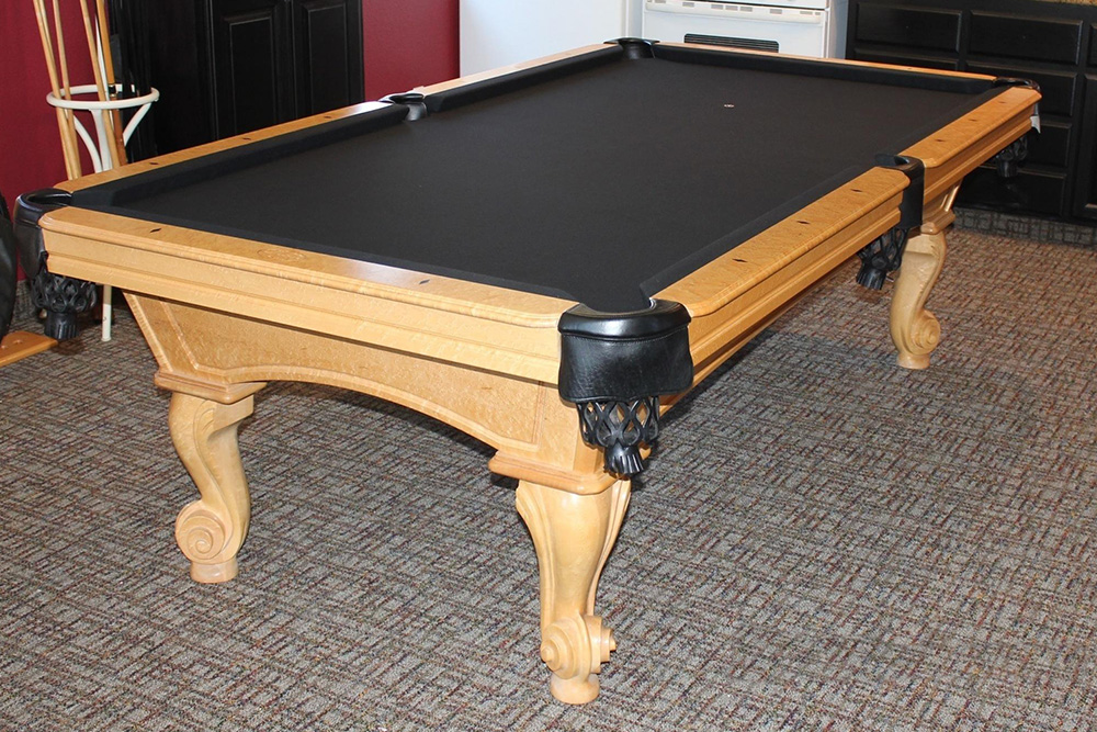 Black Felt Looks Sharp This 8u2032 Pool Light Maple Pool Table In Norco,  California Is Ready For Good Times Again. Aging Cushion Rubber Was Replaced  And New ...