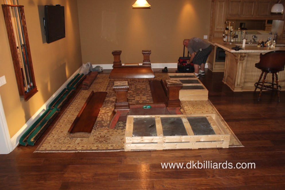 Disassembling A Four Piece Slate Billiard Table Pool Table Service - Taking apart a pool table