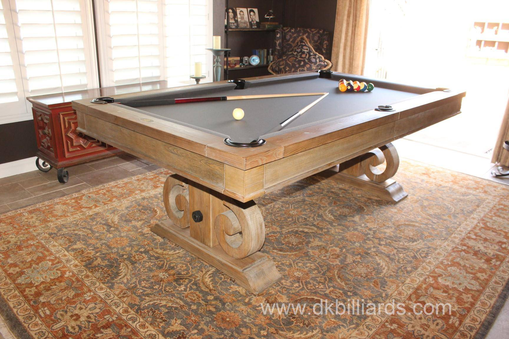 Check out this super cool 7′ davenport rustic dining conversion pool table with charcoal felt we delivered to yorba linda california
