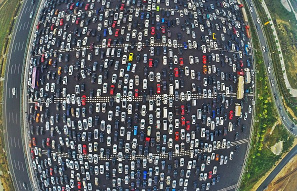 This is a massive traffic jam in China that jammed up 50 lanes of traffic