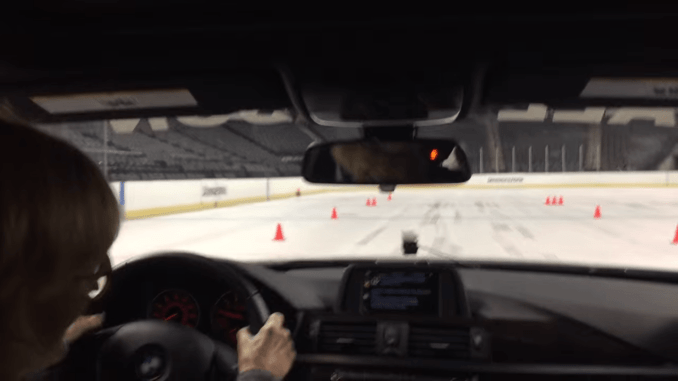 testing tires on an ice rink
