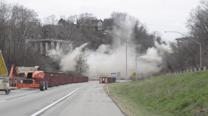 check out the video of the greenfield bridge implosion