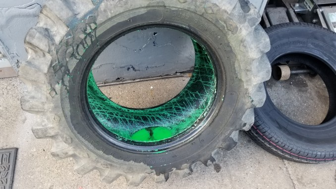 A tire filled with slime