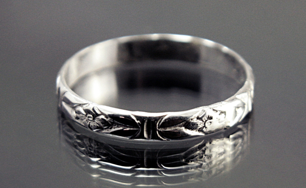 3mm Stacking Silver Ring Band Floral Imperial Design Motif