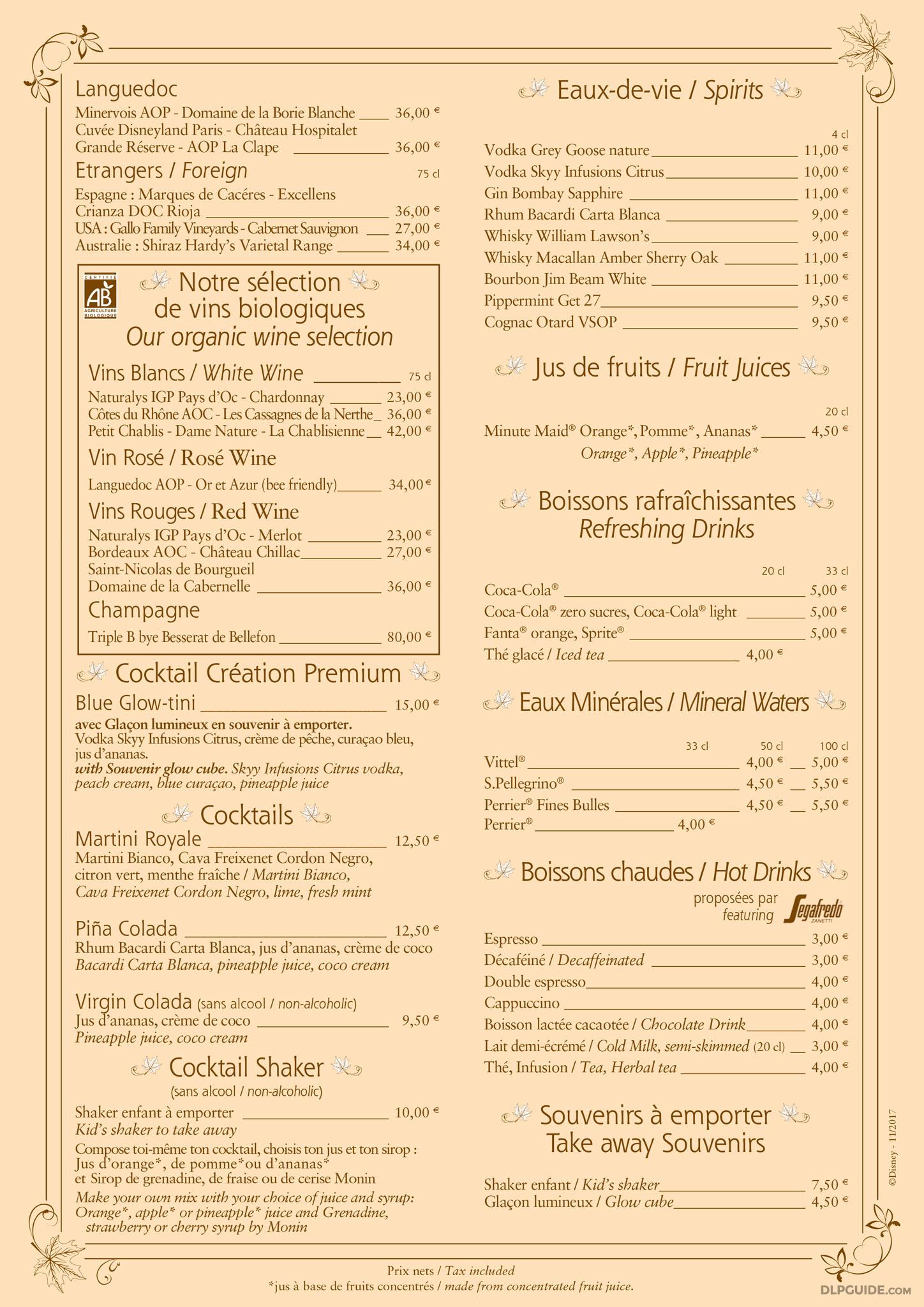 Hunter 39 s grill menu dlp guide disneyland paris for California fish grill menu