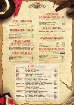 Chuck Wagon Cafe, Disney's Hotel Cheyenne menu