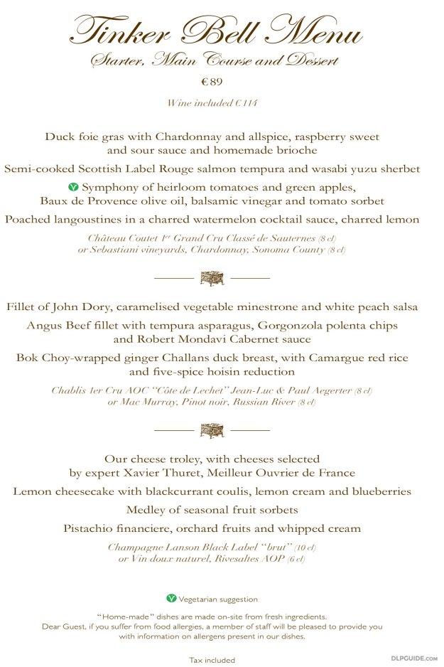 California Grill, Disneyland Hotel menu