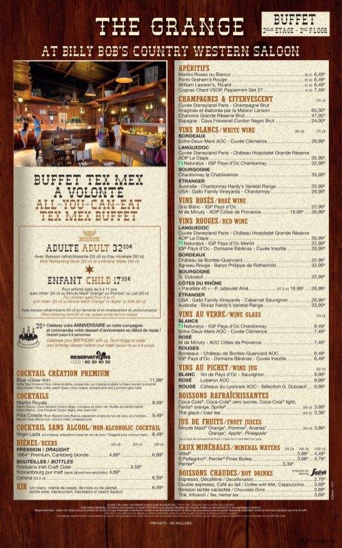 La Grange at Billy Bob's Country Western Saloon menu