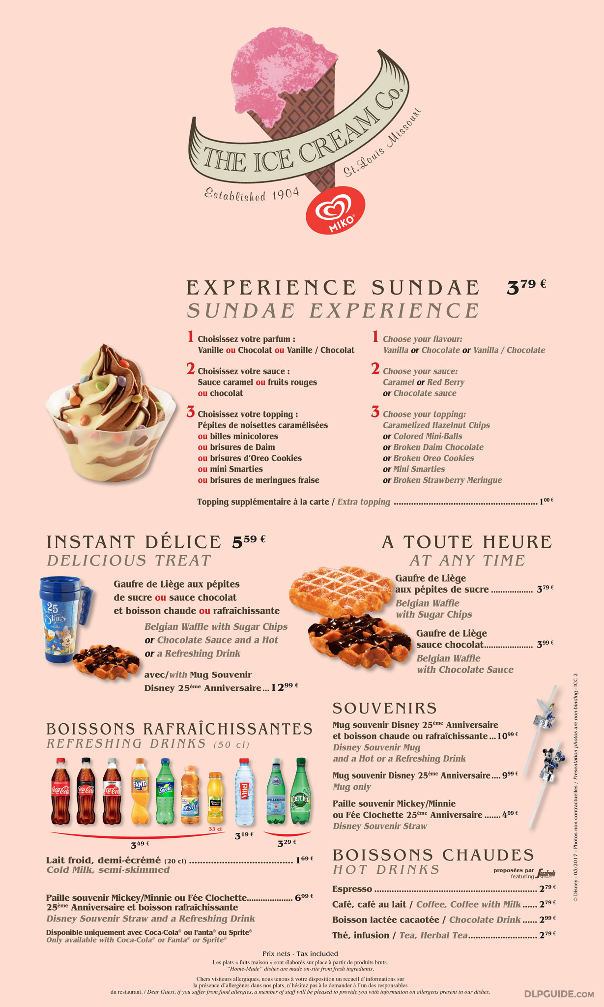 The Ice Cream Company Menu Dlp Guide Disneyland Paris