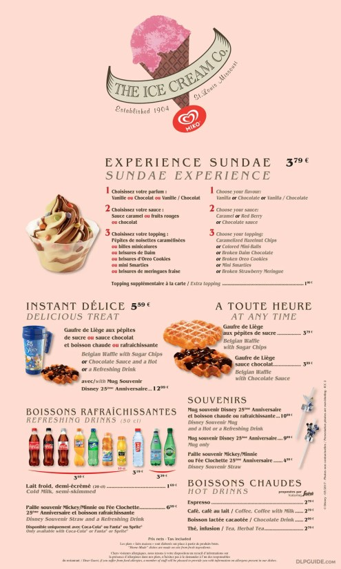 The Ice Cream Company menu