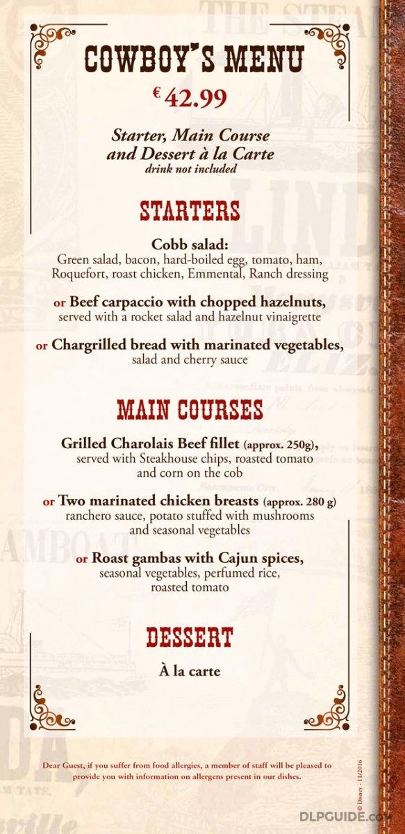 Silver Spur Steakhouse menu