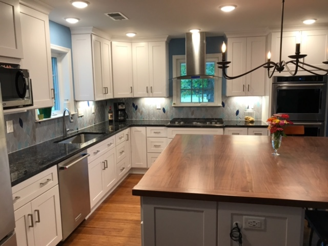 White Shaker cabinets, black walnut island top, granite ... on Backsplash For Black Granite Countertops And White Cabinets  id=90531