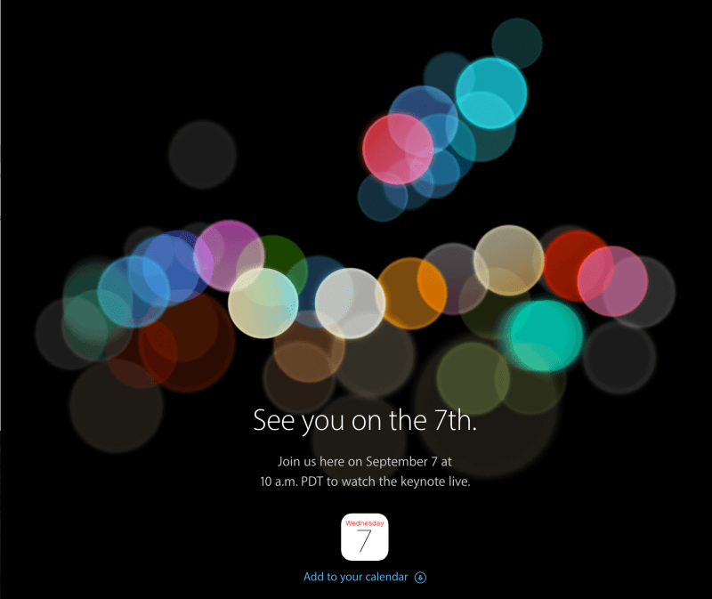 Apple See you on the 7th.