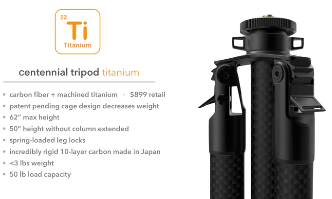 The World's First Titanium Tripod System.