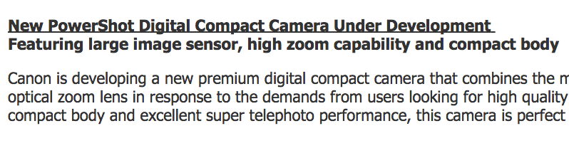 New PowerShot Digital Compact Camera Under Development