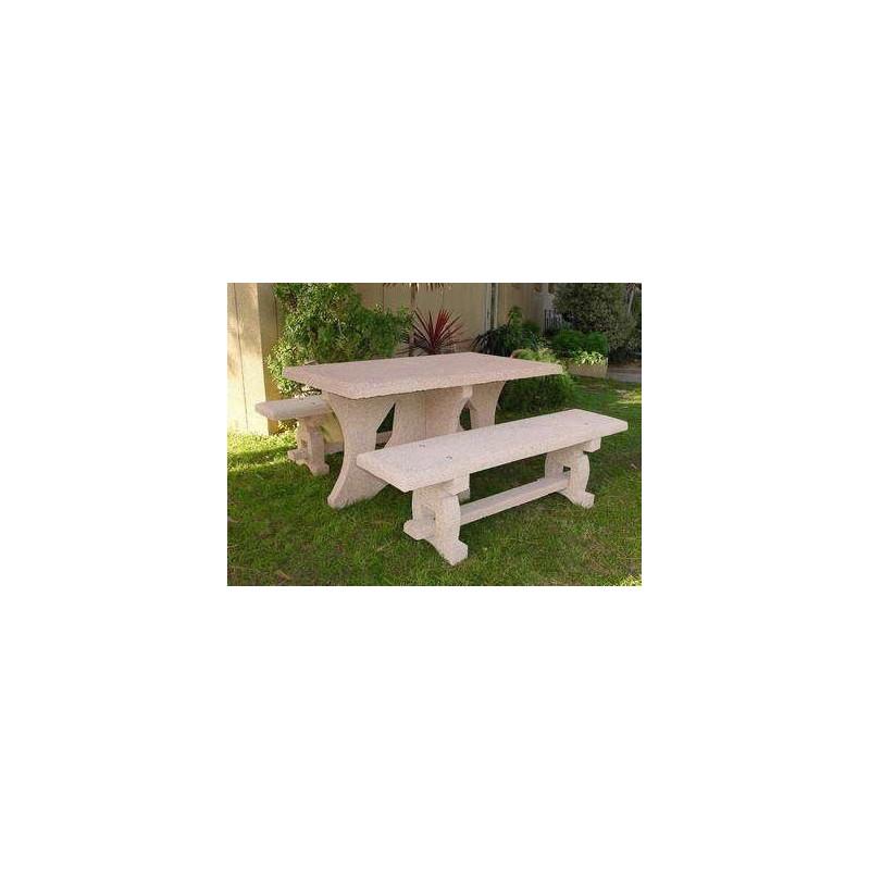 ensemble table et banc en beton caroli